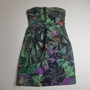 Anthropologie Tropical Strapless Dress